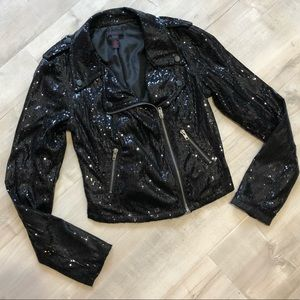 🦋 5 for 25 Black Sequin Party Moto Jacket